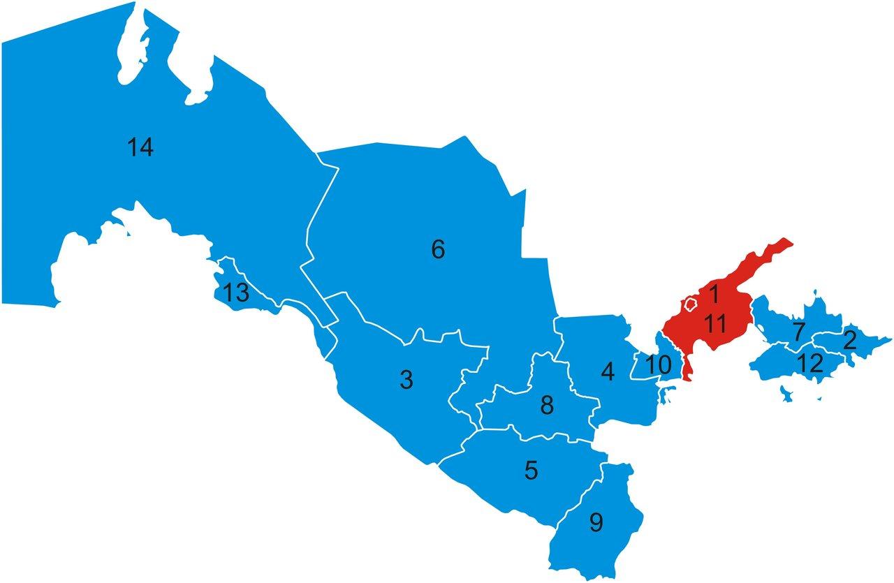 Map of Uzbekistan Region devorse